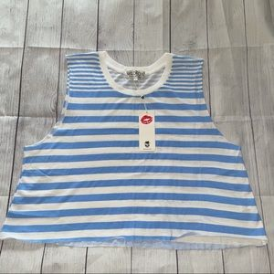 WildFox blue and white striped loose fit tank top